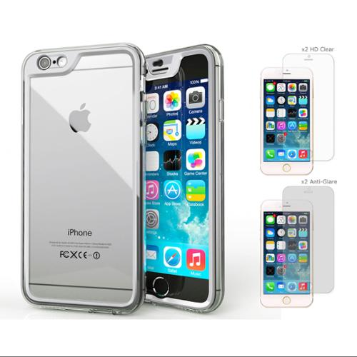 iPhone 6 Case Bundle (Case + Screen Protectors), roocase iPhone 6 4.7 Gelledge Hybrid PC / TPU Protective Full Body Case Cover with 4-Pack Screen Protector for Apple iPhone 6 4.7-inch, Alpine White
