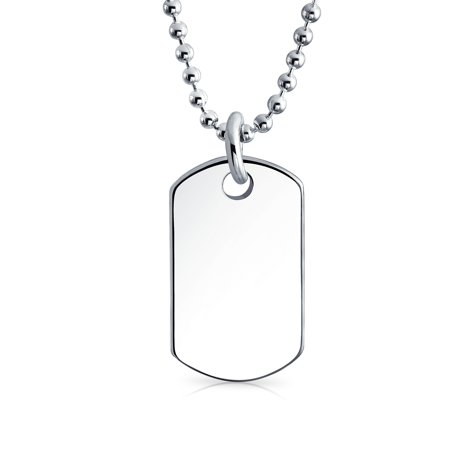 Childrens Petite Dog Tag Pendant Sterling Silver Necklace 16 Inches