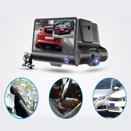 Car DVR Camera 4.0in 3 Way Lens Video Driving Recorder Rear View Auto Registrator With 2 Cameras Dash Cam DVRS Carcorder Night Vision Parking Monitor - image 3 of 7