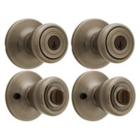 Brink's Keyed Entry Tulip Style Doorknob, Antique Brass Finish, 2-Pack