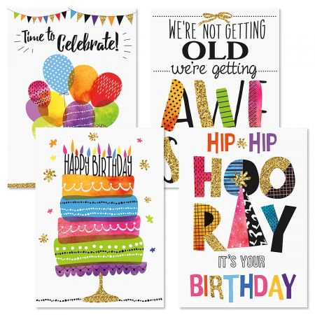 Contemporary Birthday Greeting Cards - Set of 8 (4 designs), Large 5