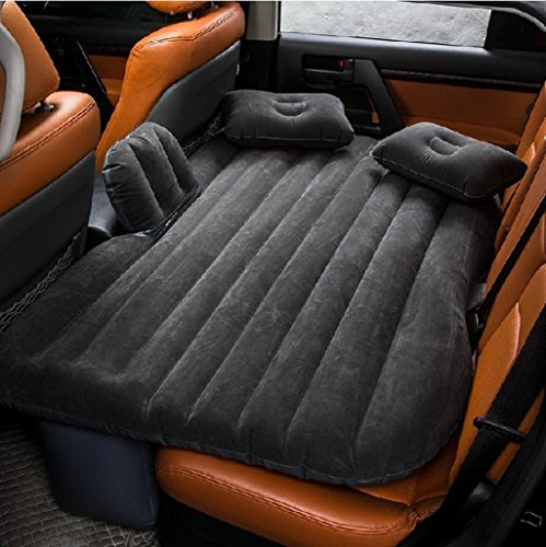 Upgraded Car Inflatable Bed Back Seat Mattress Airbed Airbed Cushion for Nap on Car After Work Fit Sedan SUV and Mini Van Soft PVC Outing Airbed with Electrical Pump 2 Pillows 2 Flocks and Carry Bag