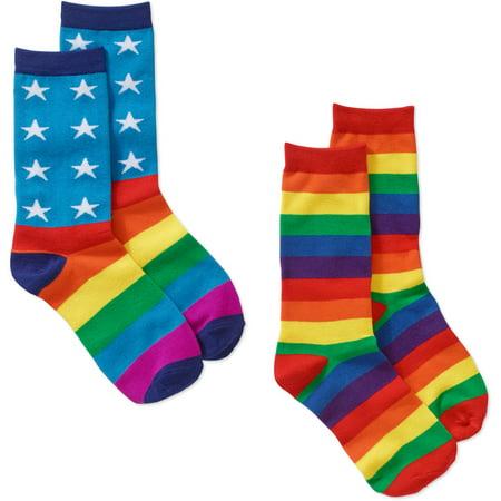 be7c7abba7 2 pack Socks assorted pack of Flag, Rainbow Stripe