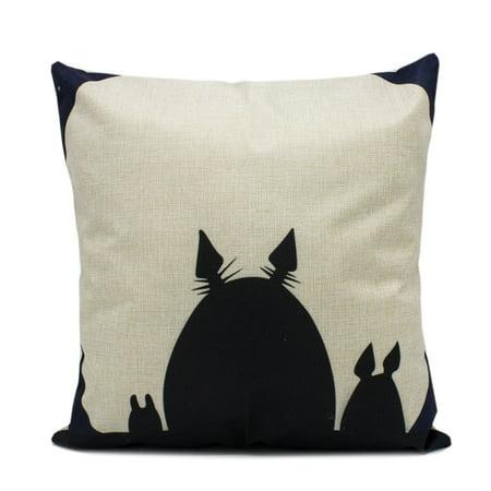 - Fennco Styles Chic and Fun Cartoon Totoro Decorative Linen Cotton Throw Pillow Case 17