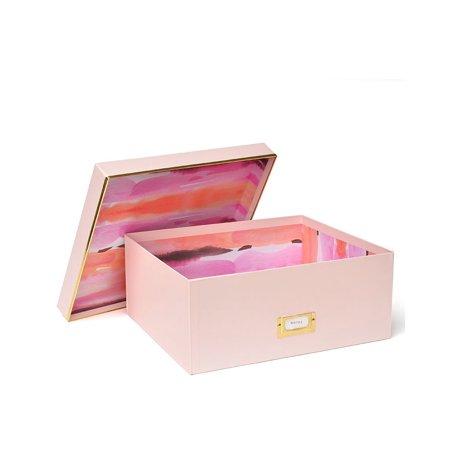 Large Storage Box - Light Pink Watercolor & Gold Foil