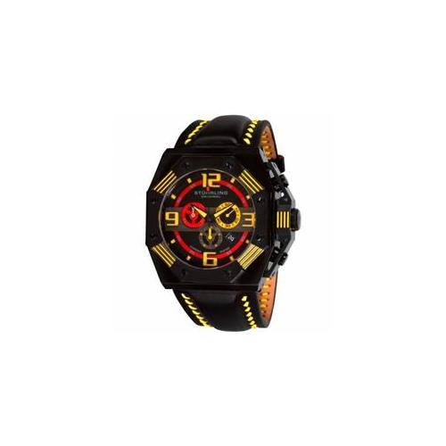 Stuhrling Original 304. 3355G65 Mens Quartz with Black IP Case, Black Case with Black Bezel and Yellow Accents and Yellow