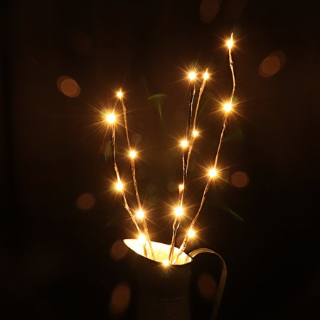 Warm White LED Willow Branch Lamp Floral LED Strip Lights with 20 Bulbs Vase Desk Décor for Christmas, New Year, Birthday Parties, Wedding Ceremony, Dinner Party Decoration ()