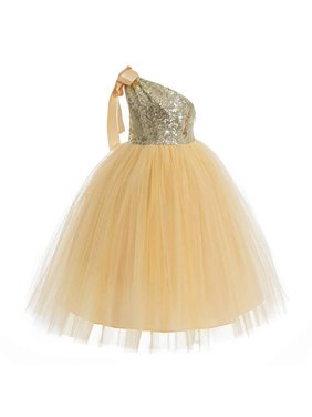 One-Shoulder Sequin Tutu Flower Girl Dresses Wedding Pageant Dress Tutu Dress Communion Dresses 182