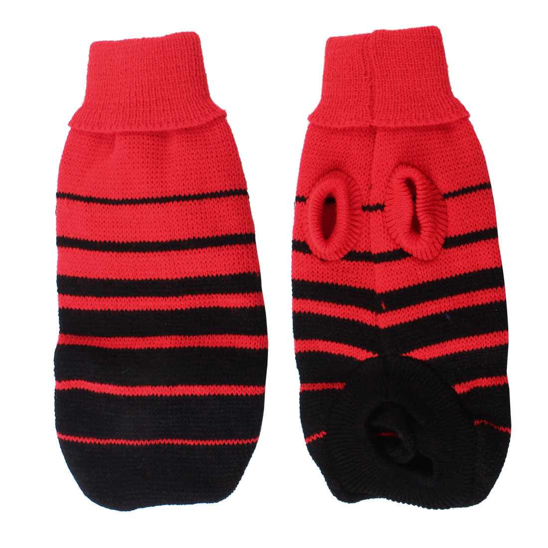 Pet Dog Doggie Red Black Knitting Striped Turtleneck Costume Apparel Sweater XXS