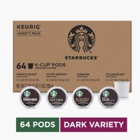 Starbucks Dark Roast K-Cup Variety Pack for Keurig Brewers, 4 boxes of 16 (64 total K-Cup pods)