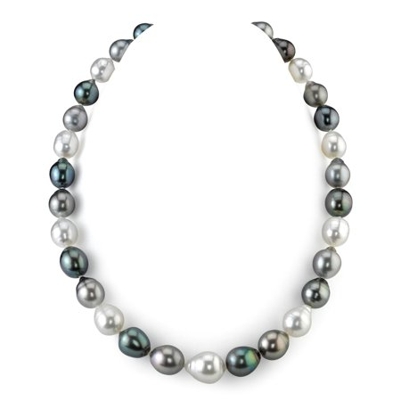 14K Gold 9-12mm Tahitian & White South Sea Multicolor Baroque Cultured Pearl Necklace - AAA Quality, 20