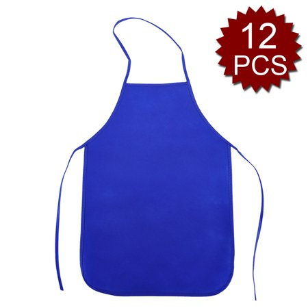 Opromo 12 Pack Non-Woven Fabrics Unisex Colorful Kids Apron for DIY Painting Artist Available in Two Sizes(S/M)-NavyBlue-M