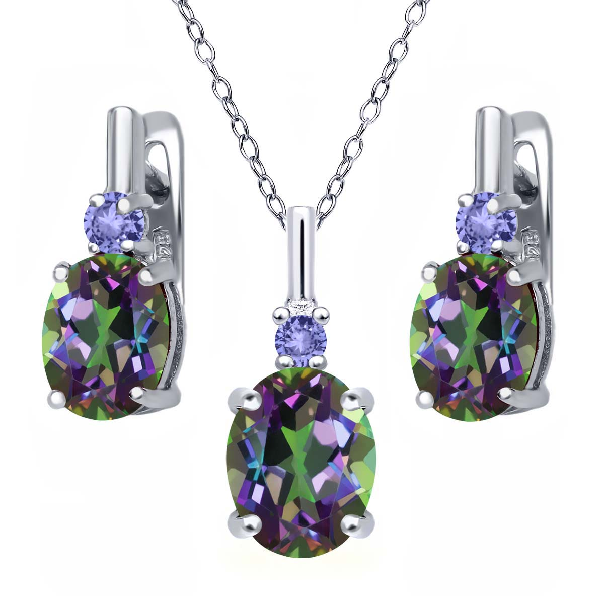 6.98 Ct Green Mystic Topaz Blue Tanzanite 925 Silver Pendant Earrings Set by