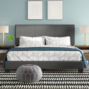 Royale Upholstered Platform Bed with Nail Trim Headboard, Queen