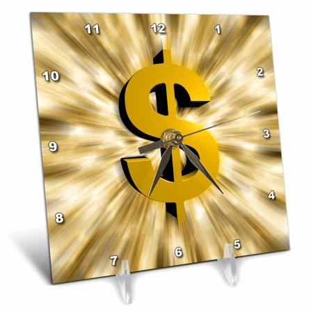 3Drose Dollar Sign Features A Large Golden Dollar Sign With Bursting Graphic Design Effects  Desk Clock  6 By 6 Inch