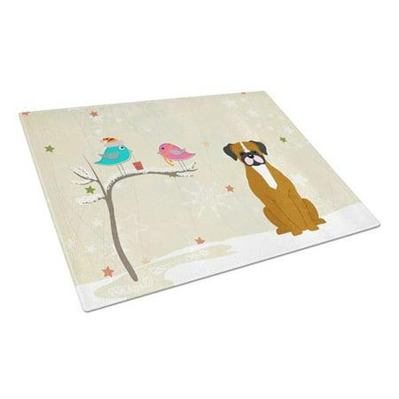 Caroline's Treasures Christmas Presents Glass Boxer Cooper Cutting Board ()
