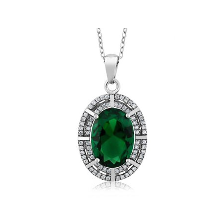 - 6.94 Ct Oval Green Simulated Emerald 925 Sterling Silver Pendant with 18