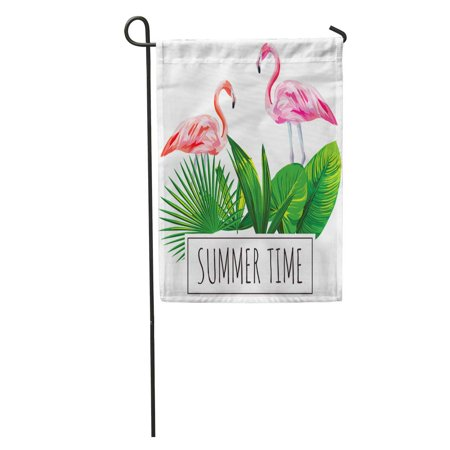- LADDKE Colorful Pattern Slogan Summer Time Tropical Green Leaves and Pink Flamingo Bird on Jungle Garden Flag Decorative Flag House Banner 12x18 inch