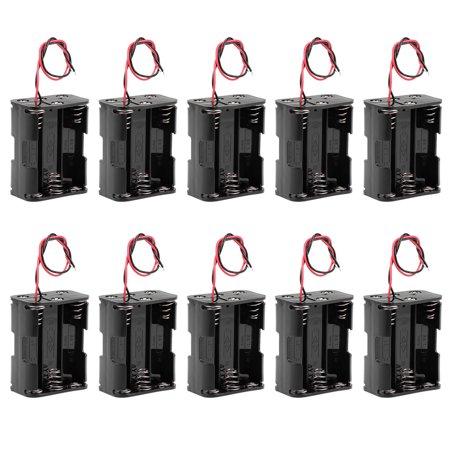 9V Battery Holder Case Storage Box 6 x 1.5V AA Batteries Wire Leads 10Pcs - image 4 de 4