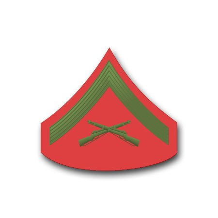 3.8 Inch USMC E-3 LANCE CORPORAL GREEN / RED CHEVRON VINYL TRANSFER DECAL (Corporal Decal)