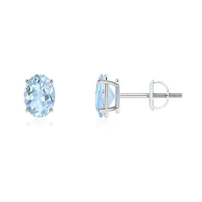 Angara Oval Aquamarine and Diamond Stud Earrings in Platinum gachKkq0
