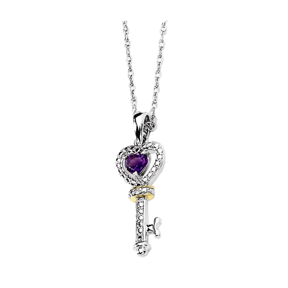 925 Sterling Silver Amethyst and Diamond Key Heart Necklace by