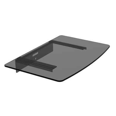 Mount World 1443 Compact Glass Component Single Shelf for DVD Player, Blu-ray Player, Cable Box, Satellite, Wii and Video Accessories (14.17