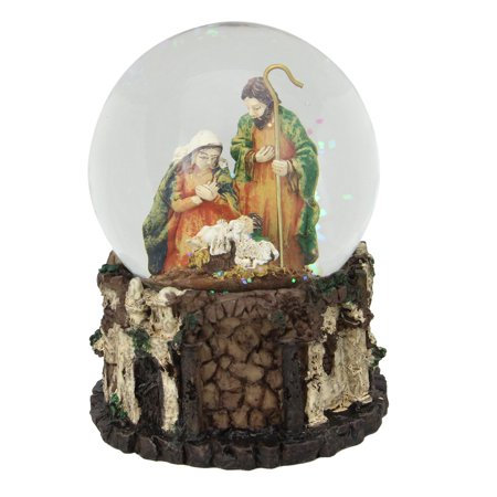 "5.5"" Christmas Nativity Holy Family Musical Snow Globe Decoration"