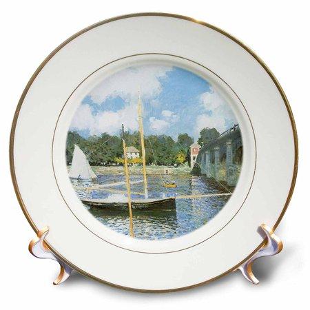 3dRose The Road Bridge at Argenteuil by Claude Monet, 1874, Porcelain Plate, 8-inch