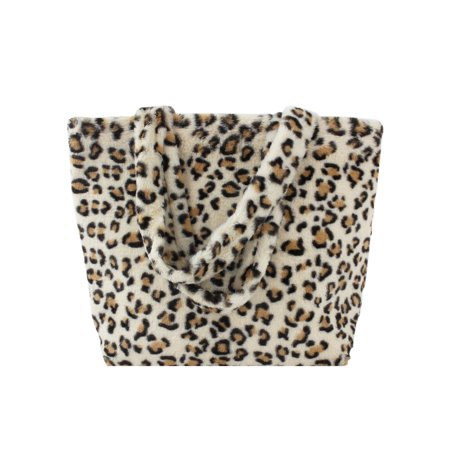 Leopard Print Oversize Plush Faux Fur Tote Bag Purse