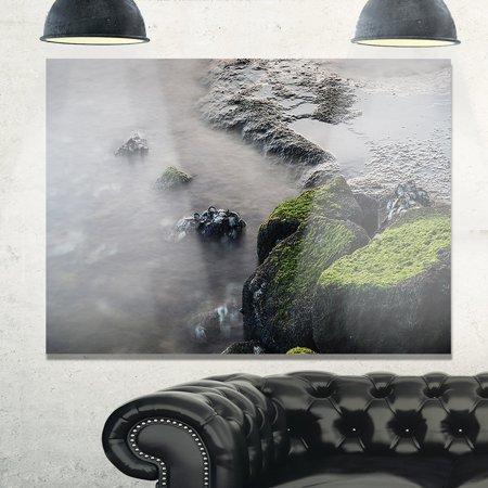 - DESIGN ART Green Rocks in Beautiful Sydney Coastline - Large Seashore Glossy Metal Wall Art 47W X 39H 1 Panel
