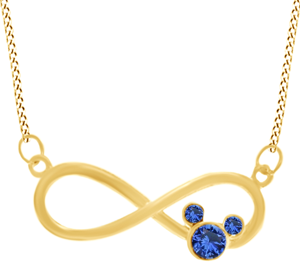 Jewel Zone US Simulated Blue Sapphire Infinity Pendant Necklace in14K Gold Over Sterling Silver