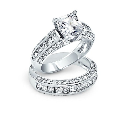 3 CT Art Deco Style Square Princess Cut Solitaire AAA CZ Pave Band Engagement Wedding Ring Set 925 Sterling Silver