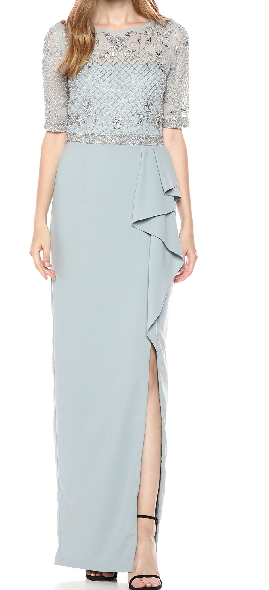 Adrianna Papell Womens Petite Long Dress with Beaded Top and Ruffle on Skirt