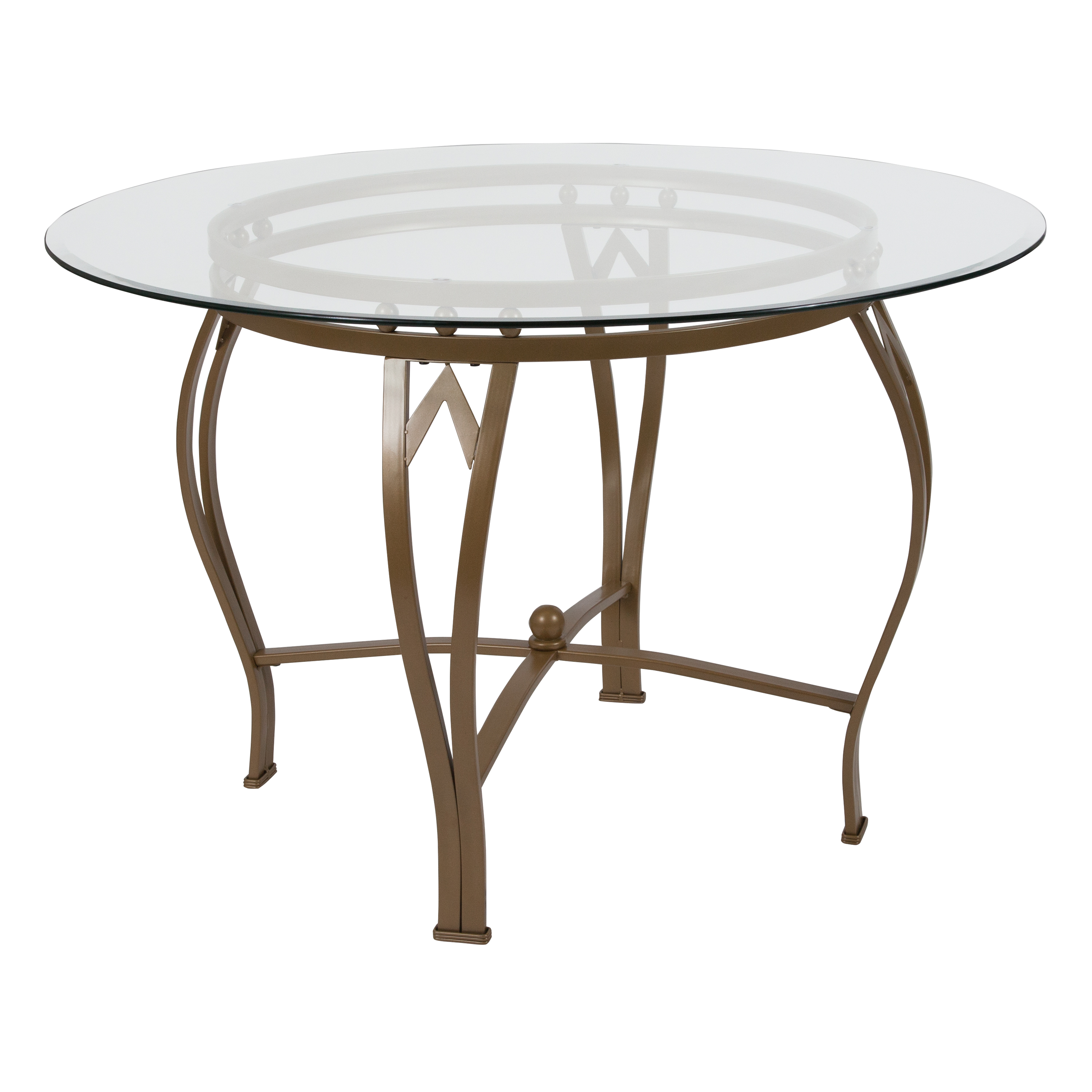45RD Glass Table/Gold Frame