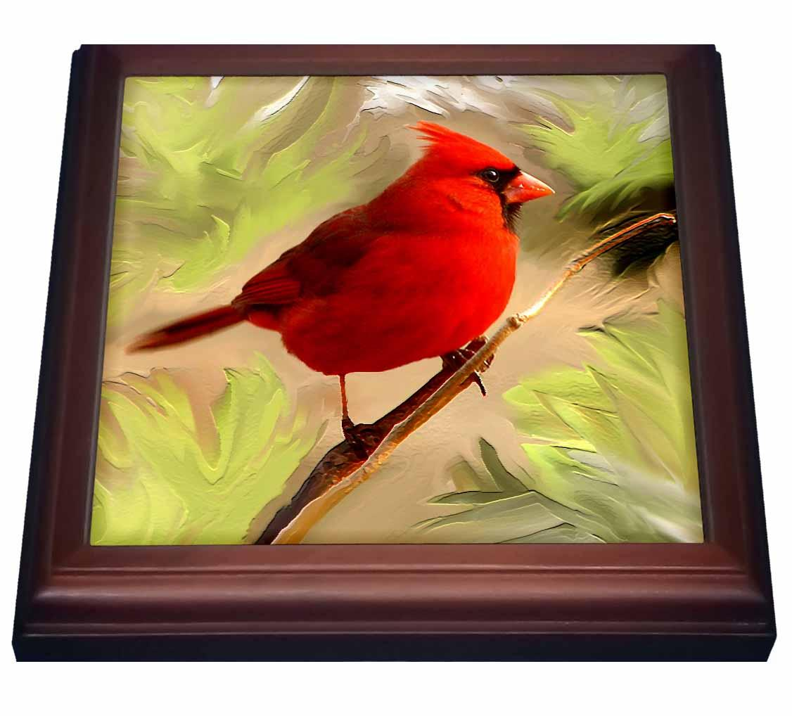 3dRose Red Cardinal, Trivet with Ceramic Tile, 8 by 8-inch by 3dRose