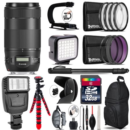Canon EF 70-300mm IS II USM Lens - Video Kit +  Flash - 32GB Accessory Bundle