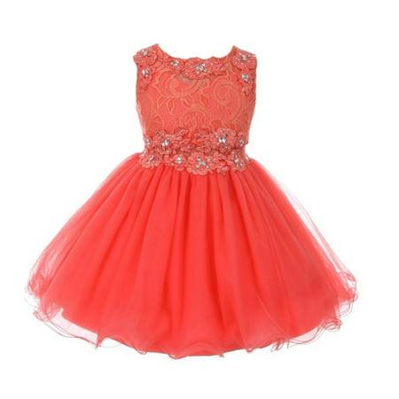Girls Coral Glitter Rhinestone Adorned Tulle Junior Bridesmaid