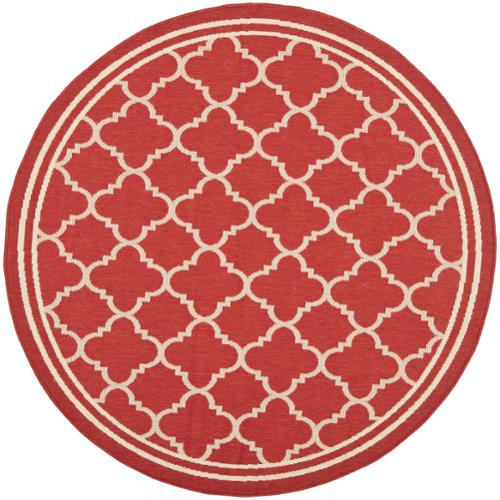 Safavieh Indoor/ Outdoor Courtyard Red/ Bone Geometric Rug (7'10 Round)