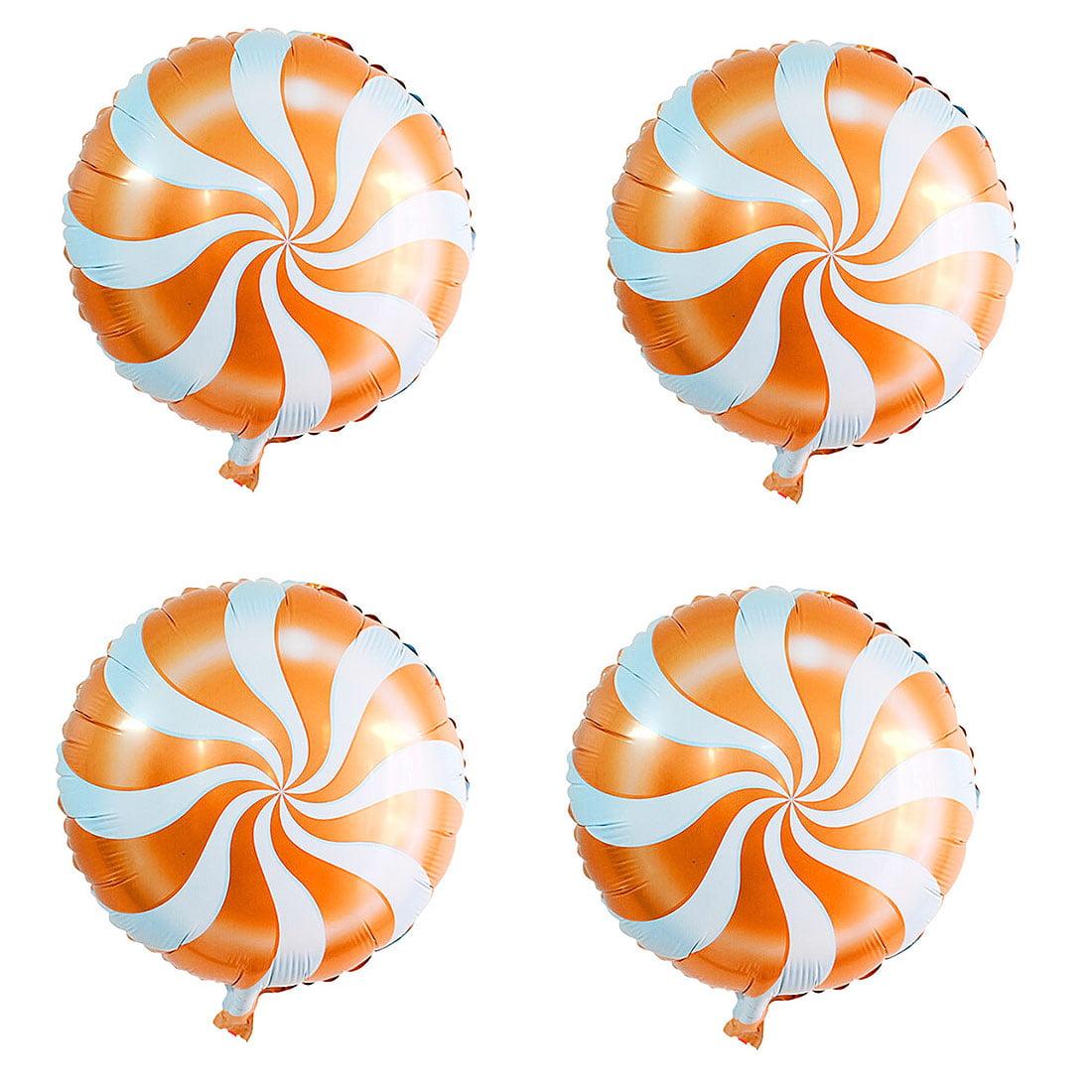 Unique Bargains Wedding Foil Wave Pattern Round Ornament Helium Balloons Orange 18 Inches 4 Pcs