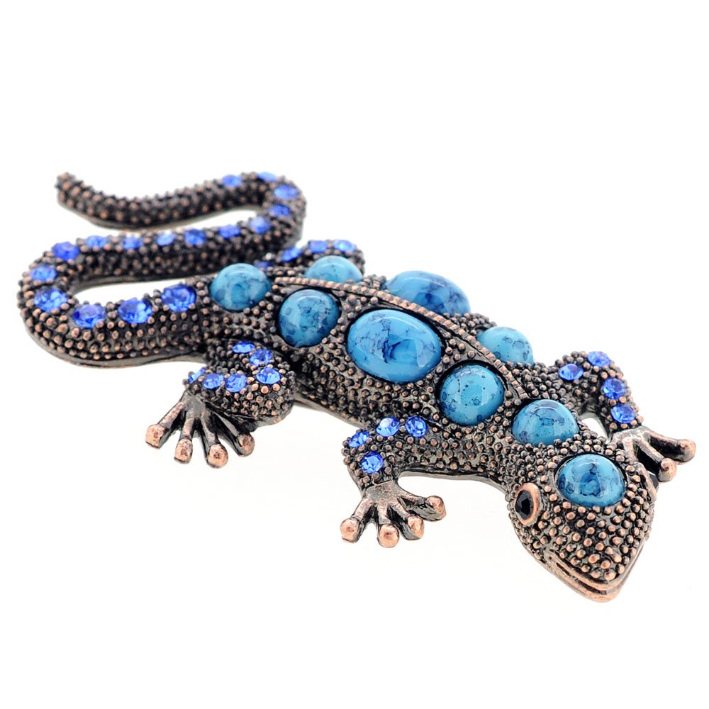 Vintage Style Turquoise Blue Lizard Crystal Pin Brooch by