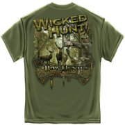 Wicked Hunt Bow Hunter Deer Hunting T-Shirt by , Olive Drab