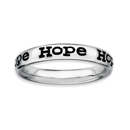 Sterling Silver Stackable Expressions Polished Enameled Hope Ring Size 7 - image 3 de 3
