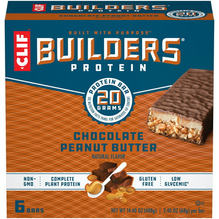 Clif Builders Protein Bars, Chocolate Peanut Butter Flavor, 20g Protein, 2.4 ounce bars, 6 count (Now Gluten Free)