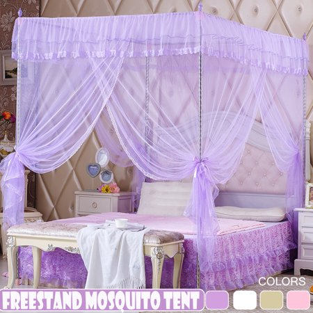 Luxury Princess Style 4-Corner Post Mosquito Net Elegant Bed Netting Curtain Panel Bedding Canopy Queen King Sizes 4 Colors ()