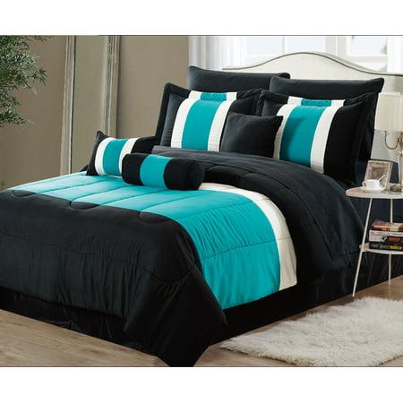 11 piece oversized teal blue black comforter set bedding with sheet set queen. Black Bedroom Furniture Sets. Home Design Ideas