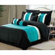 11-Piece Oversized Teal Blue & Black Comforter Set Bedding with Sheet Set (Queen)