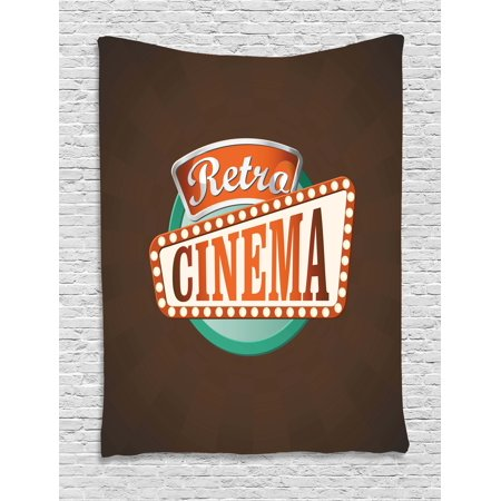 Movie Theater Tapestry, Retro Style Cinema Sign Design Film Festival Hollywood Theme, Wall Hanging for Bedroom Living Room Dorm Decor, Brown Turquoise Vermilion, by Ambesonne