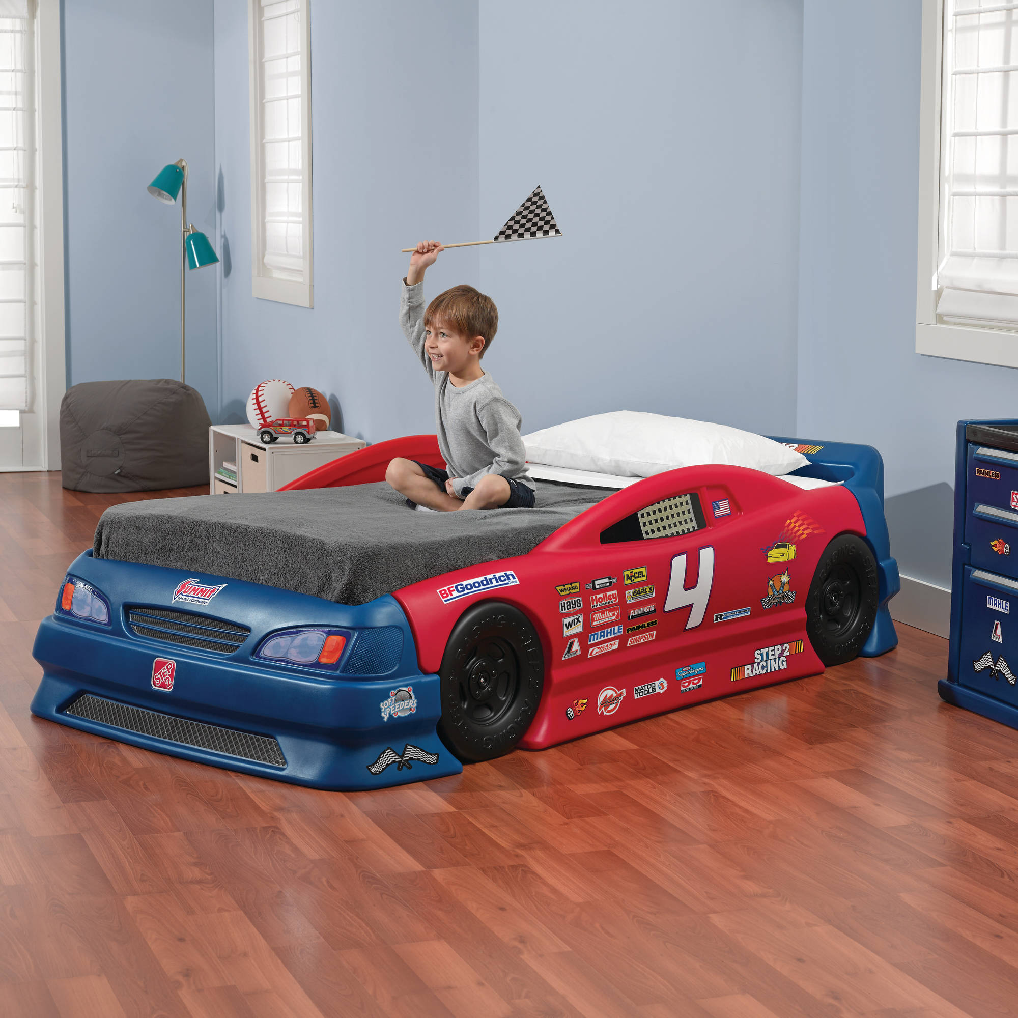 costway new kids race car bed toddler bed boys child furniture bedroom red wooden walmartcom