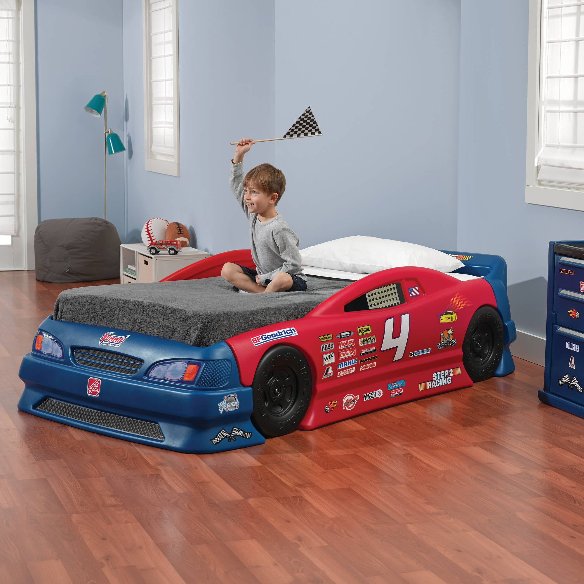 Nascar Bedroom Furniture Step2 Stock Car Convertible Toddler To Twin Bed And Mattress .
